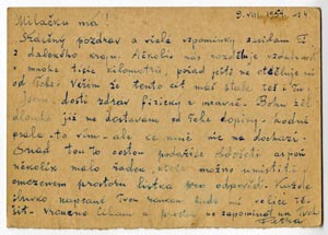 One of the final letters that Petr Zlenko sent to his wife in Prague from the Ozerlag, where he was imprisoned in 1946–1954. He died in the camp two months later