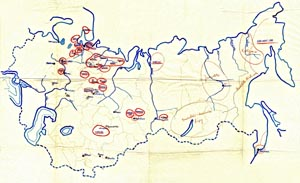 One of the maps of Gulag camps created during a Czechoslovak military mission to the USSR. Based on testimonies of prisoners released to Buzuluk, it documented the network of camps and recorded the sentiments of interned Czechs