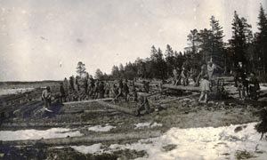 The most common forms of labour for Gulag prisoners were felling trees, excavation and mining work, snow clearance and construction of communications. A forestry team stacks tree trunks on the Solovetsky Islands