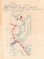 Map of the Soviet border at the spot where František Punda crossed it on the run from the Nazis. He was subsequently arrested and sentenced to the Gulag, where he died