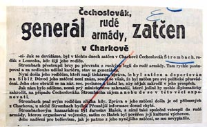 Czechoslovak journalists reported about the arrest of general Jaroslav Štrombach in Kharkiv in August 1931. Unbeknown to them, he had been executed weeks earlier