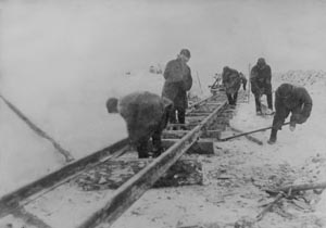 Track laying near the auxiliary camp Sevzedlorlag no. 4