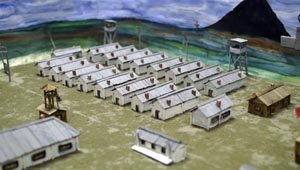 Prisoners' barracks in one of the Rechlag camps in a model made by pupils of an elementary school in Vorgashor – a settlement near Vorkuta built on the site of a former camp