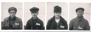 USSR-resident Czechs shortly after arrest by the OGPU. Following a harsh investigation they received sentences of many years. From left V. Jakovlev, J. Michalský, R. Albert, V. Jona