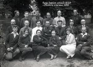Participants in a course for Czech teachers in Zhytomyr in July 1930. Shortly after it ended most attendees were arrested in Kharkiv and sentenced in a rigged trial to terms of several years